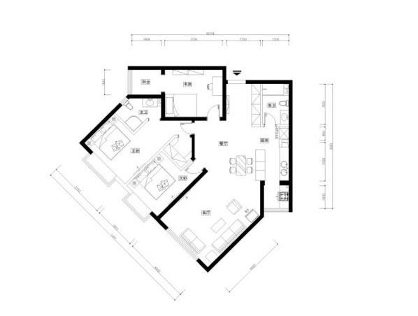 素色三居室设计平面图