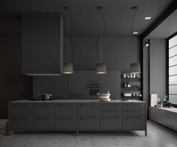 黑色系现代简约厨房效果图
