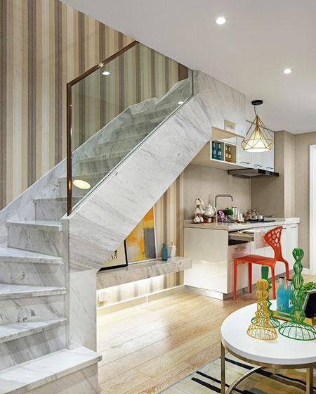 现代北欧风 小户型loft转角楼梯设计