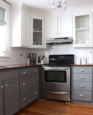 小户型灰色整体厨房装修