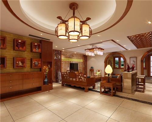 客厅天花吊顶效果图:中式风格图片
