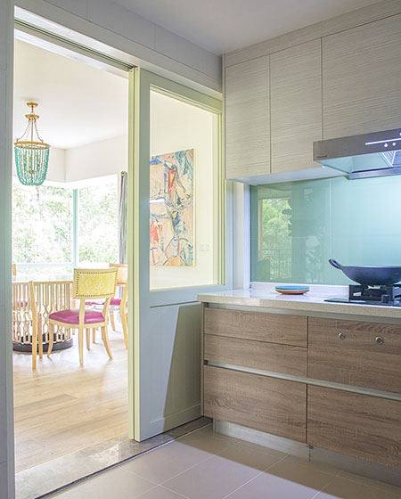 300平混搭风格复式厨房推拉门