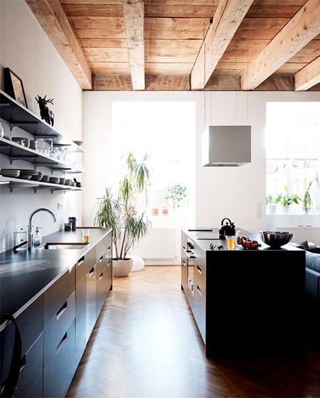 100平旧房改造装修实木橱柜图片