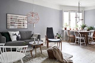 70平北欧风格公寓客厅布艺沙发图片