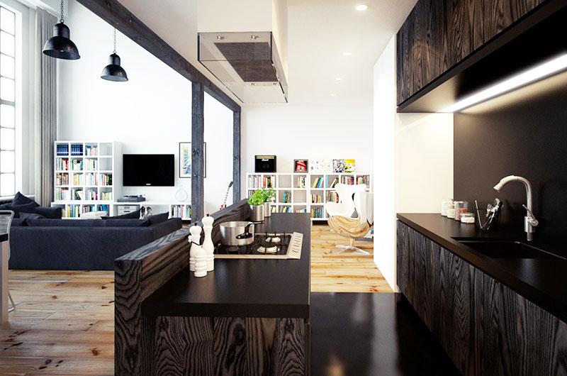 休闲美式loft厨房装修设计