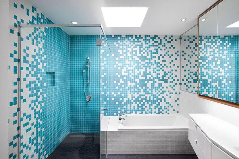 蓝白卫生间马赛克设计实景图-装修效果图案例 2018年装修效果图 齐家