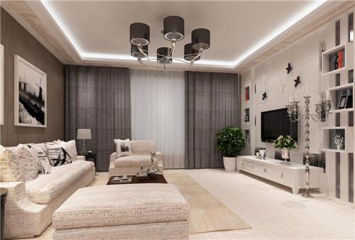 白色的布艺沙发与灰色的窗帘