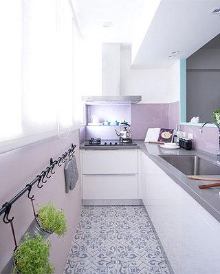 76平小三室装修L型厨房设计