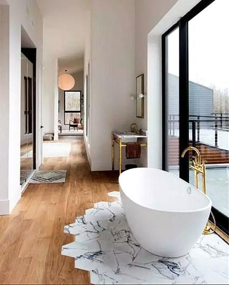 瓷砖木质混搭装修卫生间地板图片