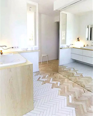 瓷砖木质混搭装修卫生间地板效果图