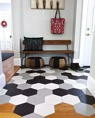 瓷砖木质混搭装修玄关地板装修图