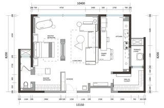 118平一室一厅装修平面布置图