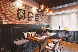 110平混搭风格婚房装修餐厅背景墙设计