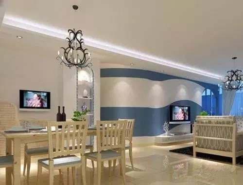 客厅连餐厅吊顶效果图 餐厅和客厅一体吊顶案例分享图片