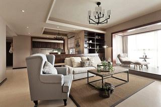 152平美式风格公寓客厅效果图
