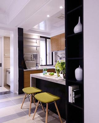 115平简约三居厨房吧台设计