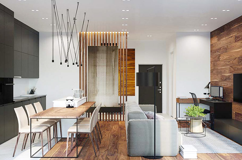 工业风格单身公寓装修餐厅装修图