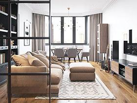 111平二房装修效果图 原始与质感完美平衡