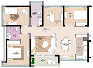 90㎡现代风格公寓平面图