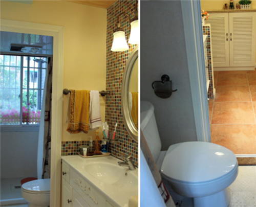 这种方式比较适合长方形的洗手间,尤其是人比较多的家庭.