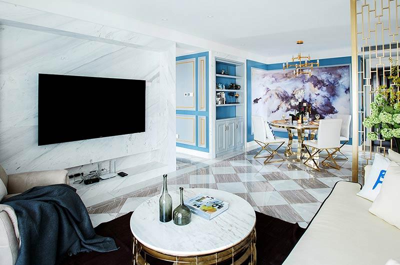 现代风格样板房装修石材电视背景墙