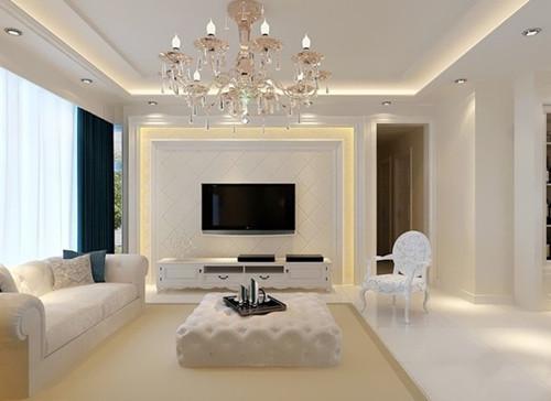 现代简约电视背景墙效果图 电视墙造型简单大方