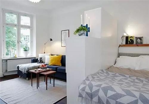 卧室客厅一体装修效果图 白领的单身公寓可以这样装