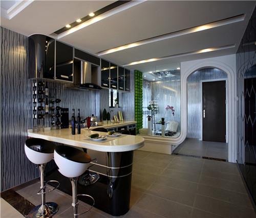 厨房吧台设计效果图 开放式厨房吧台设计欧美范儿图片