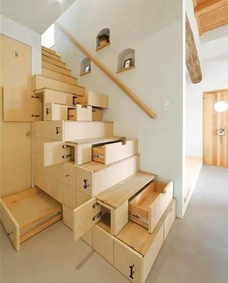 多功能木质楼梯效果图