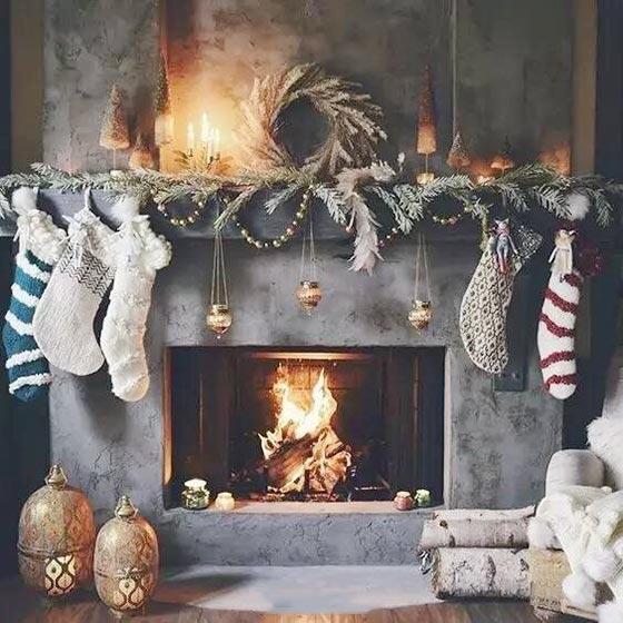 圣诞壁炉布置摆放图