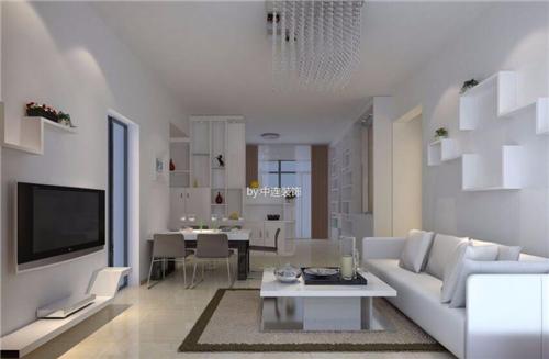 这款现代简约风格客厅装修中,以白色作为空间的主要色调,整个客厅