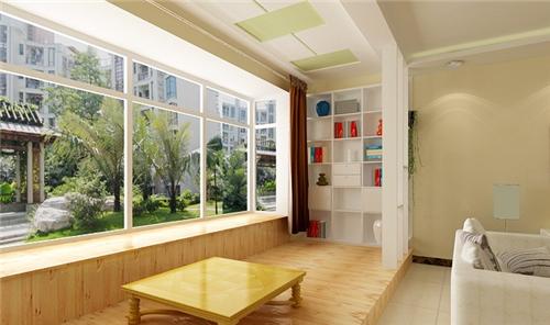 该图是一款长条形的阳台,它与室内同样是打通的,由两层不同高的地台