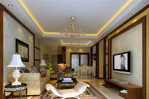 客厅电视背景墙采用白色瓷砖打造,运用不规则的斜线条来进行装饰,背景