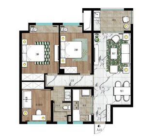 90㎡两居室北欧风装修平面图