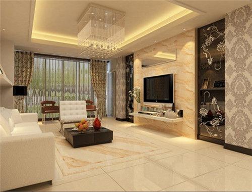 这款客厅装修中,不仅地板采用仿木纹的瓷砖铺贴,特别之处在于墙面也采