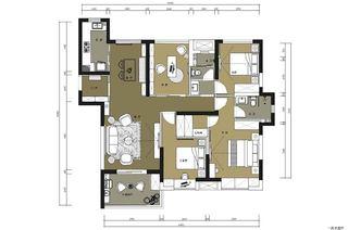美式风格三室两厅130平米设计图纸