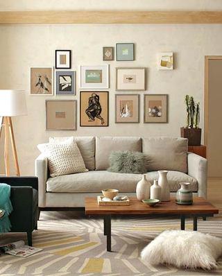 简约风格客厅三人沙发装饰图