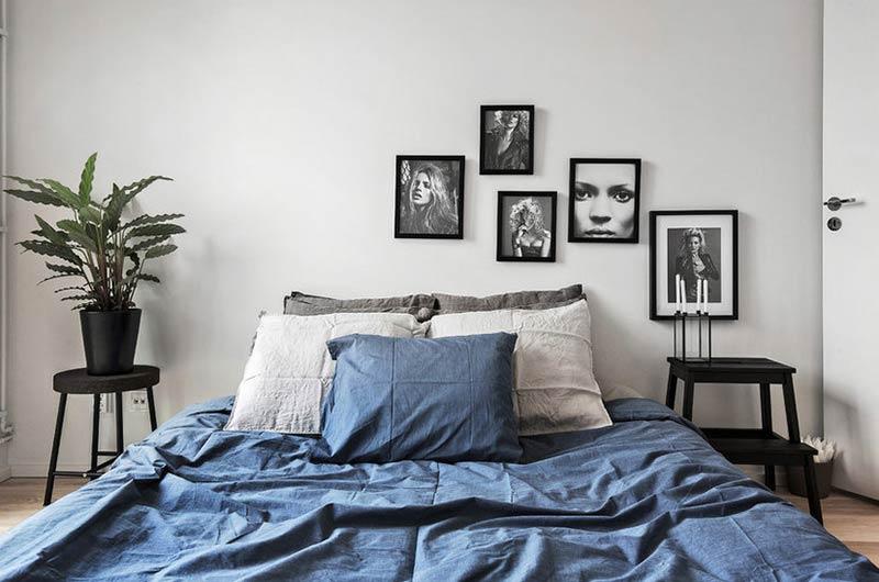北欧风格公寓卧室床品图片