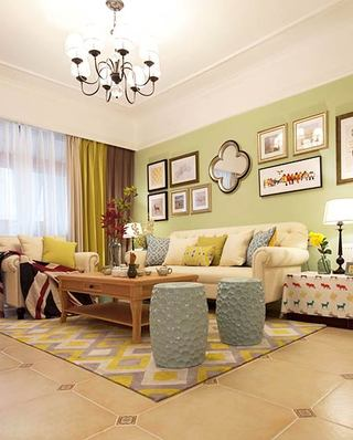 126平美式三居室客厅效果图