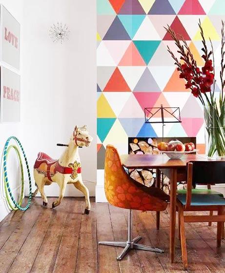 彩色几何图案背景墙图
