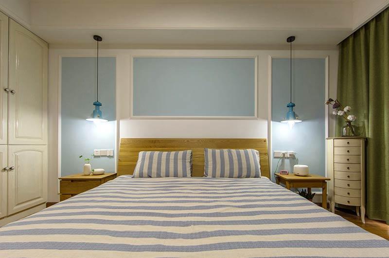 140平北欧混搭三居卧室床头背景墙