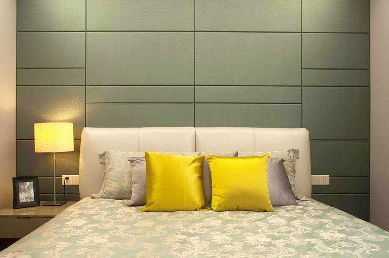 120平简约三居室卧室床头软包