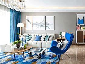 89平现代简约风格小三室装修 静谧海洋蓝