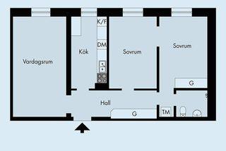 60㎡小清新公寓装修平面图