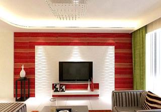 红色客厅电视背景墙效果图