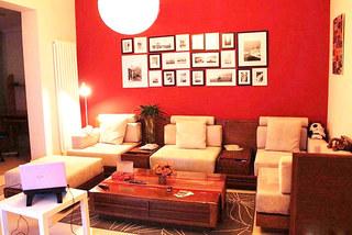 红色客厅沙发背景墙设计图