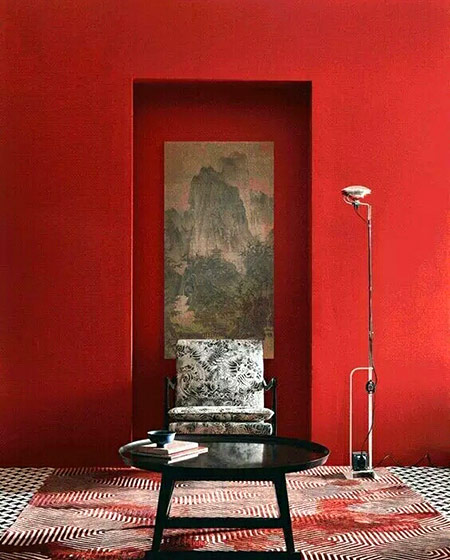 红色客厅沙发背景墙图片