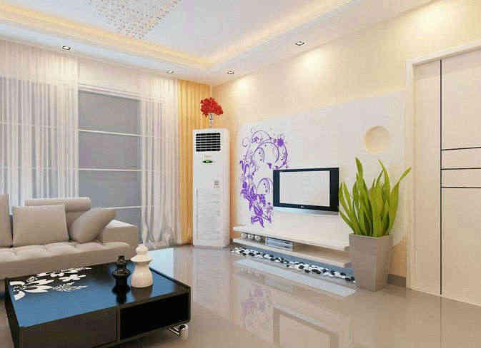 这是一套自然风景的客厅电视背景墙手绘效果图,整个手绘设计让客厅在