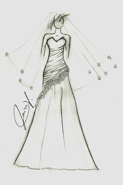 婚纱礼服设计图手稿 揭开鱼尾婚纱的神秘面纱