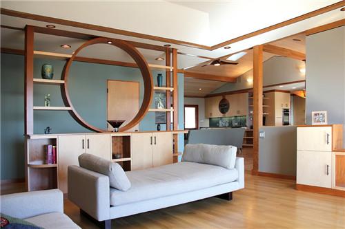 客厅隔断门装修效果图 85㎡小户型客厅隔断门设计